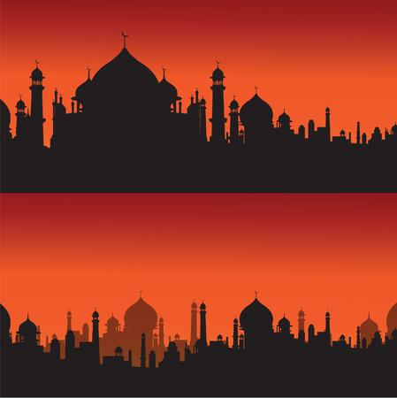 mosque religious silhouette vector Illustration