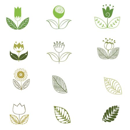 flower clip art: Collection of green and pink retro spring flowers vector Illustration