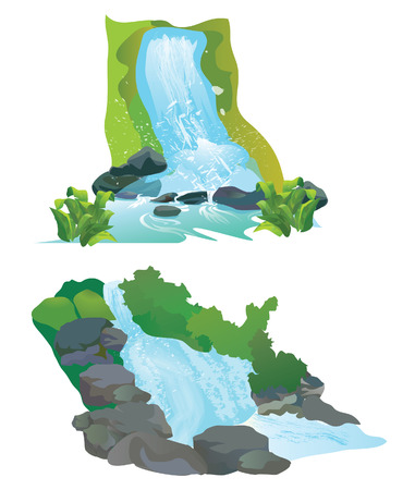 waterfall jungle vector