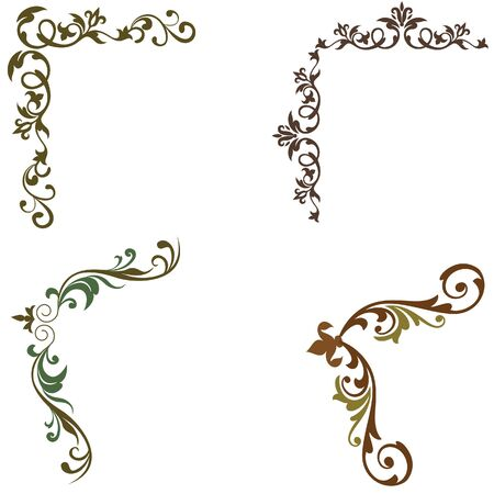 blown: elements swirl floral corner vector