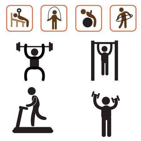 calisthenics: icono de ejercicio de la salud y la forma f�sica vectorial