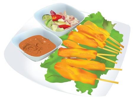 satay appetizers Иллюстрация