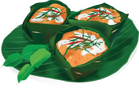 devour: Thai food Steamed fish with curry Illustration