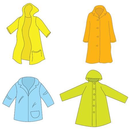 precipitaci�n: de color impermeable en blanco Vectores