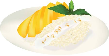 thai dessert: mango sticky rice thai dessert vector