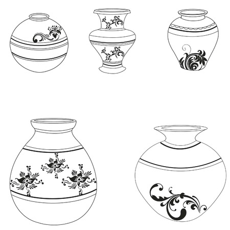 Clay Pottery Collection Illustration
