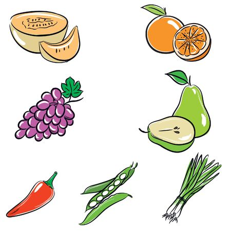 food hygiene: vegetable and fruit vector color
