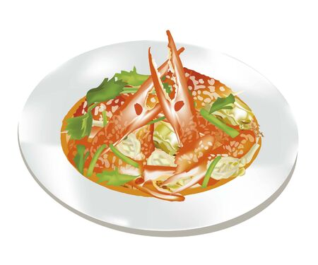 카레: Crab with curry powder vector 일러스트
