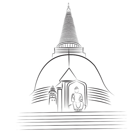 nakhon pathom: Wat Phra Pathom Chedi Nakhon Pathom Thailand Illustration