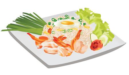 rice plate: shrimp fried rice thai food