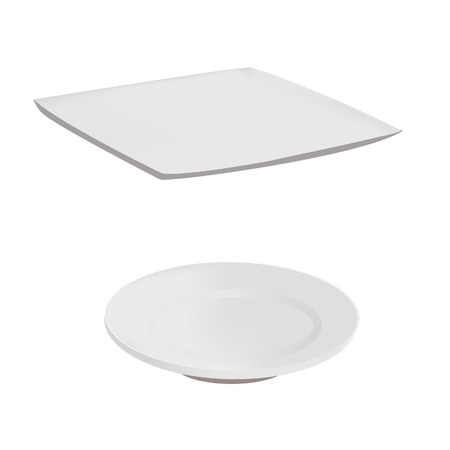 plate: empty plate  white vector Illustration