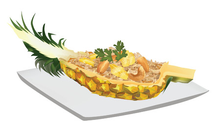 vector thai food pineapple fried rice