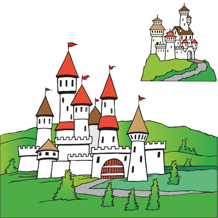 turret: Castle theme landscape vector