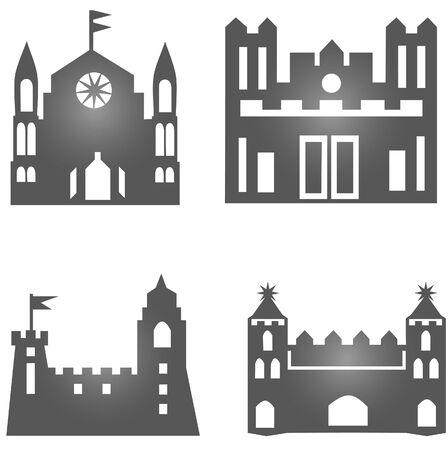 castle silhouette: Vector set of castle silhouette Illustration