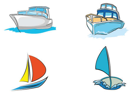 inflate boat: boat and saling vector Illustration