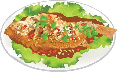 deep fried: Deep fried fish meat with sweet and sour chili sauce vector