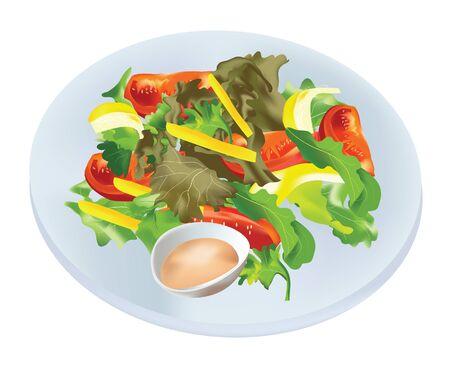 famine: Healthy salad vegetable Illustration