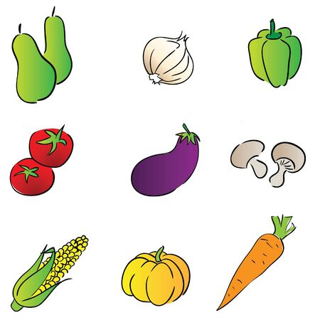 bell tomato: vegetable color icon in kitchen Illustration