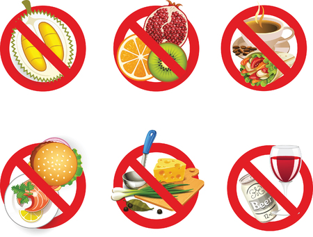 no food: No  Food Prohibition Sign Vector Label Illustration