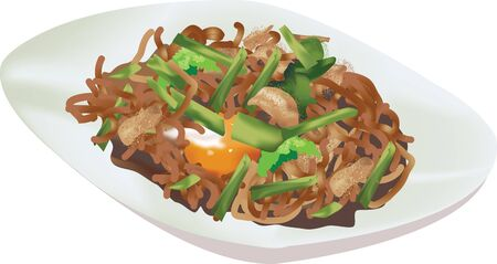 fried noodles: Fried Hokkien Noodles traditional food of Phuket Thailand Illustration