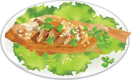 sour: Deep fried fish meat with sour sauce vector