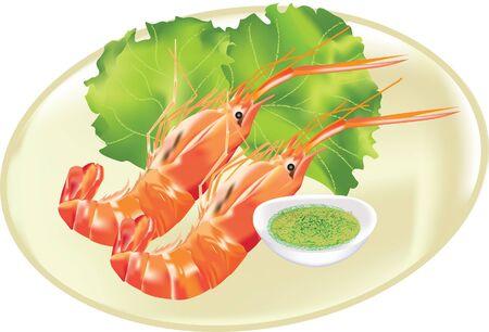 prawns: prawns seafood vector