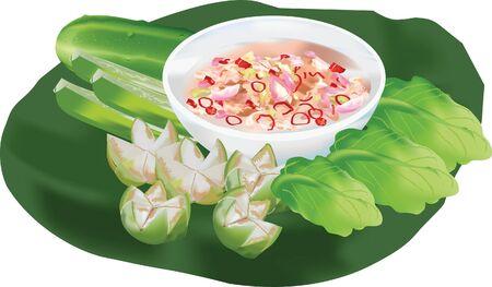 edibles: Thai Cuisine Chili paste shrimp fresh vegetables