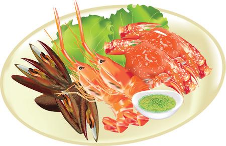 incineration: Seafood platter vector Illustration