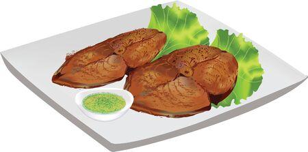 trozos de pescado frito Ilustración de vector