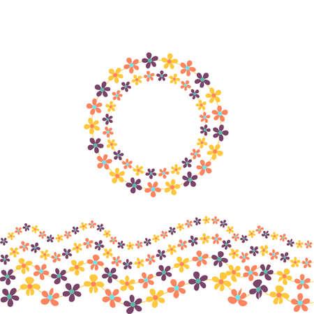 arranged: Floral Frame Cute retro flowers arranged Illustration