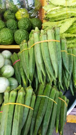 vegetable in market Green okra
