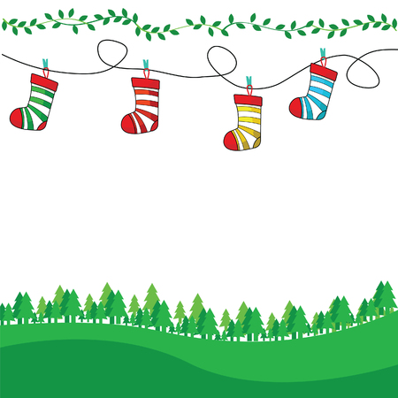 Christmas tree and stocking vector illustration.