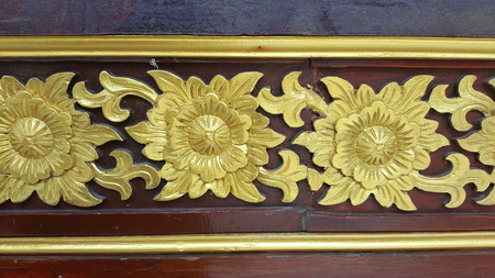 Ancient golden carving wooden of Thai temple