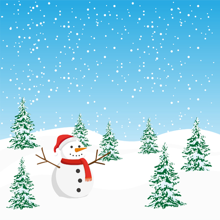 Christmas winter background design with snowman.