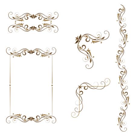 Swirl set of ornamental elements frame