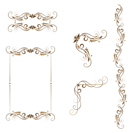 Swirl set of ornamental elements frame