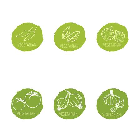 Vegetables set icons collection of vegetables Illustration
