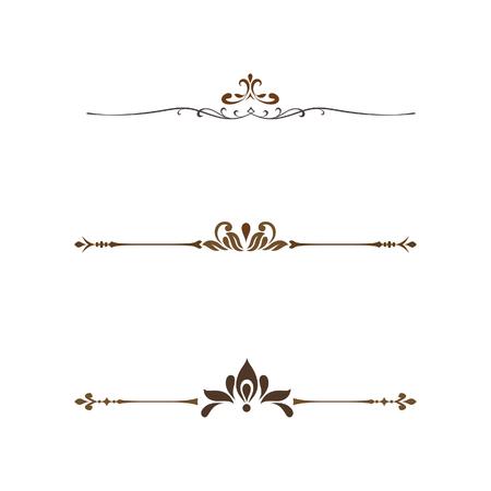 set of decorative elements line vintage style