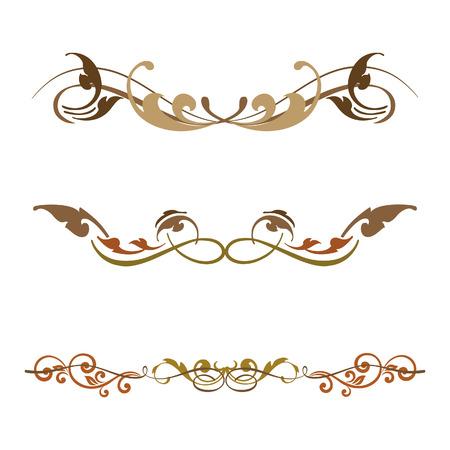Vintage set of decorative elements horizontal Illustration