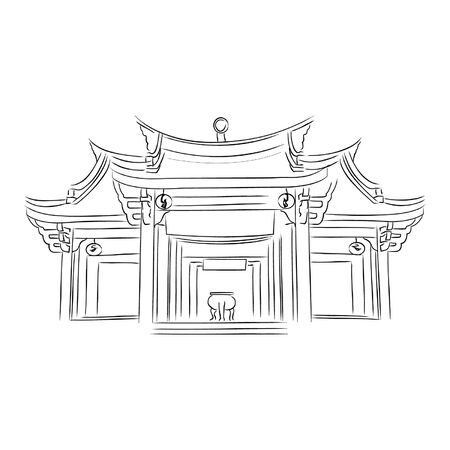 chinese temple  Shrine in Vector illustration