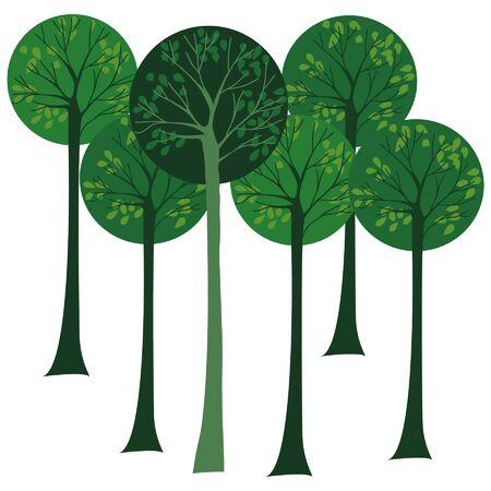 jungle green tree with leaf Illustration