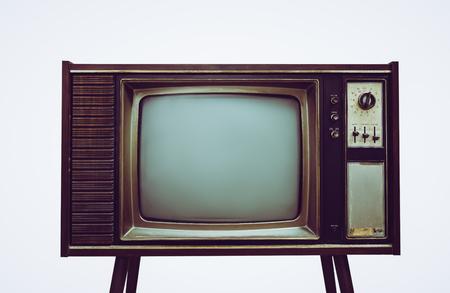 Vintage antiguo televisor en el soporte de fondo blanco aislado, televisión retro con caja de madera