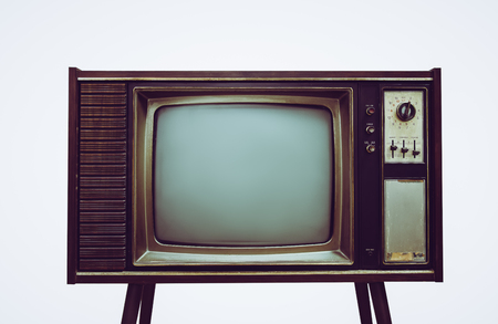 vintage old tv on stand isolated white background,Retro television with wood case