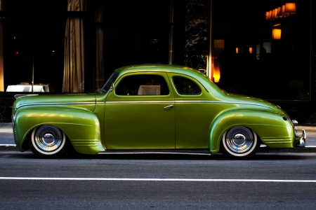 plymouth: Classic Plymouth automobile on a downtown city street. Stock Photo