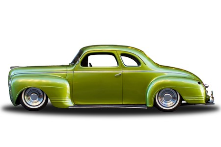 dated: Classic Plymouth automobile isolated on white background.