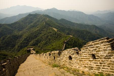 touristy: Mutianyu, a touristy restored section of the Great Wall of China. Stock Photo