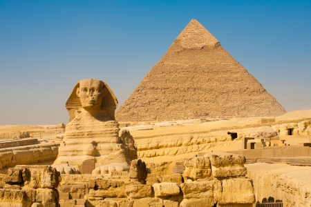 egyptian pyramids: The Sphinx and the Pyramid of Khafre slightly offset in Giza, Cairo, Egypt