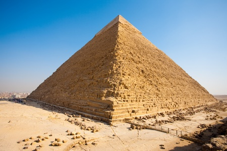 elevated: The pyramid of Khafre seen from an elevated perspective from the rear. Stock Photo