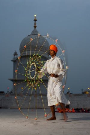 gurudwara: PAONTA SAHIB - MAY 22: A young man belonging to a Sikh group known for their warrior past practices with a net weapon May 22, 2009 in Paonta Sahib, Himachal Pradesh, India Editorial