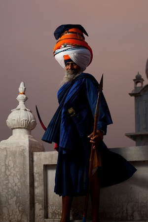 gurudwara: PAONTA SAHIB - MAY 22: The learned leader of the Paonta Sahib Gurudwara stands ready for battle May 22, 2009 in Paonta Sahib, Himachal Pradesh, India